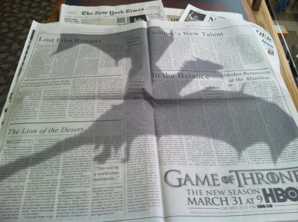 Dragons New York Times Thrones