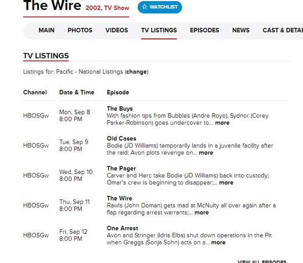 The-Wire-pschedule